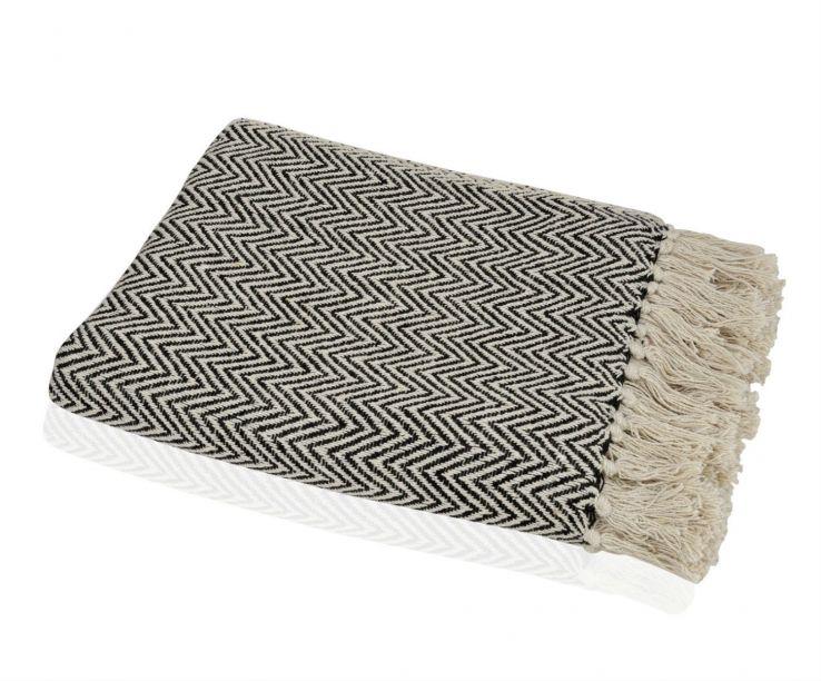 Plaid de sofá jaquard negro y beige 100% algodón