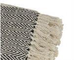 Detalle flecos de plaid de sofá jaquard negro y beige 100% algodón