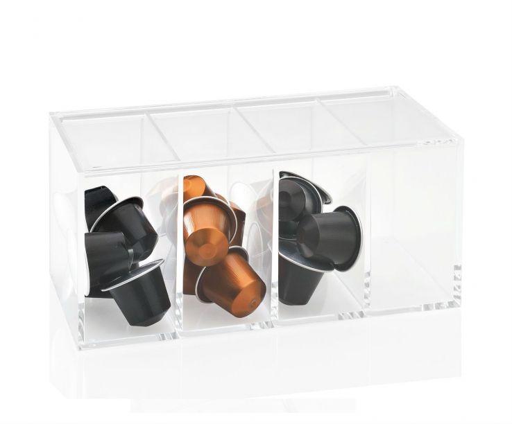 Caja acrílica 4 compartimentos vacía
