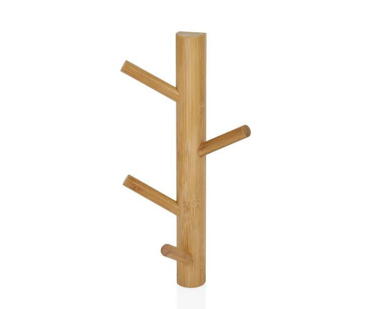Perchero de pared de bambú con cuatro ganchos