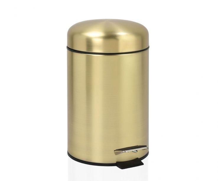 Papelera de baño dorada de acero inoxidable