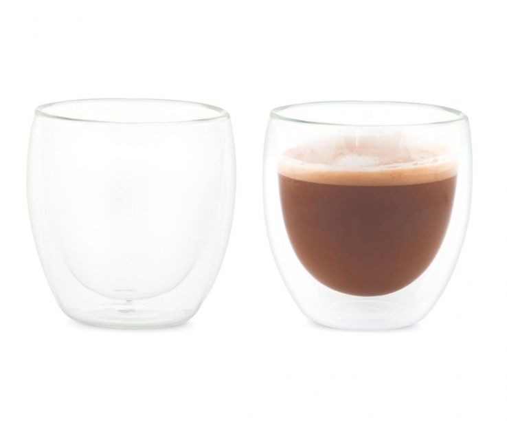 Set de dos vasos de vidrio doble para latte