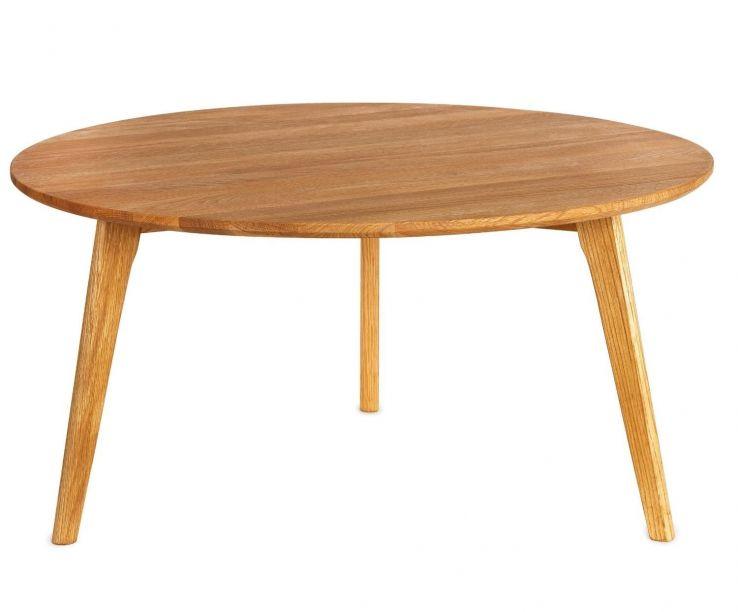 Mesa de centro nórdica redonda de madera de roble