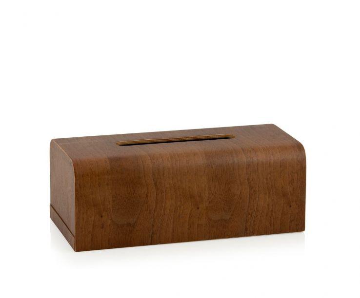 Caja para pañuelos rectangular de madera de nogal